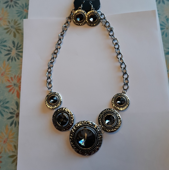 Black smoky gem necklace with matching earrings